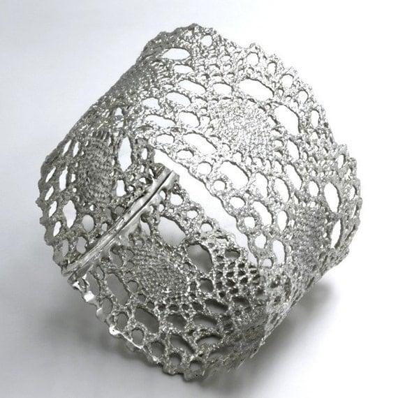 Vintage Delicate Lace Silver Cuff Bracelet