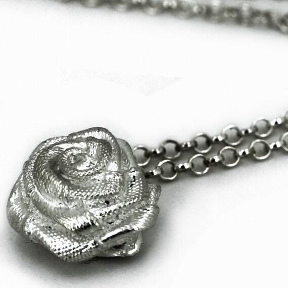 Sweet Silver Satin Rose Flower Pendant