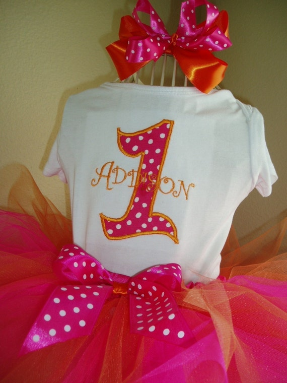 Birthday Tutu Outfit Hot Pink & Orange, Boutique bow, head band, Great for Birthday CAN embroider monogram