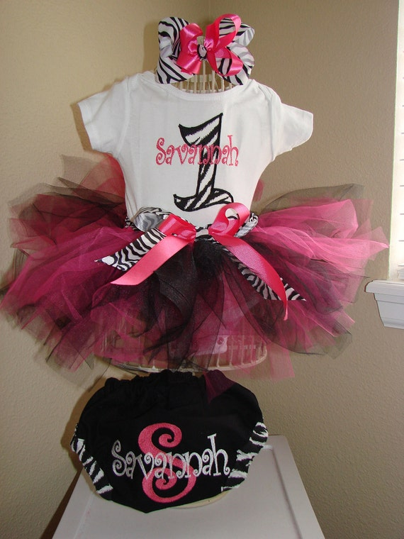 Zebra Tutu Outfit Black White and pink, Boutique bow, head band, diaper cover bloomers Great for 1st 2nd 3rd Birthday CAN embroider monogram