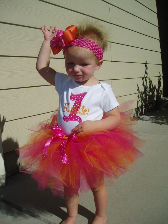 Birthday Tutu Outfit with Skirt Hot Pink and Orange, Boutique bow, head band, Great for Birthday CAN embroider monogram