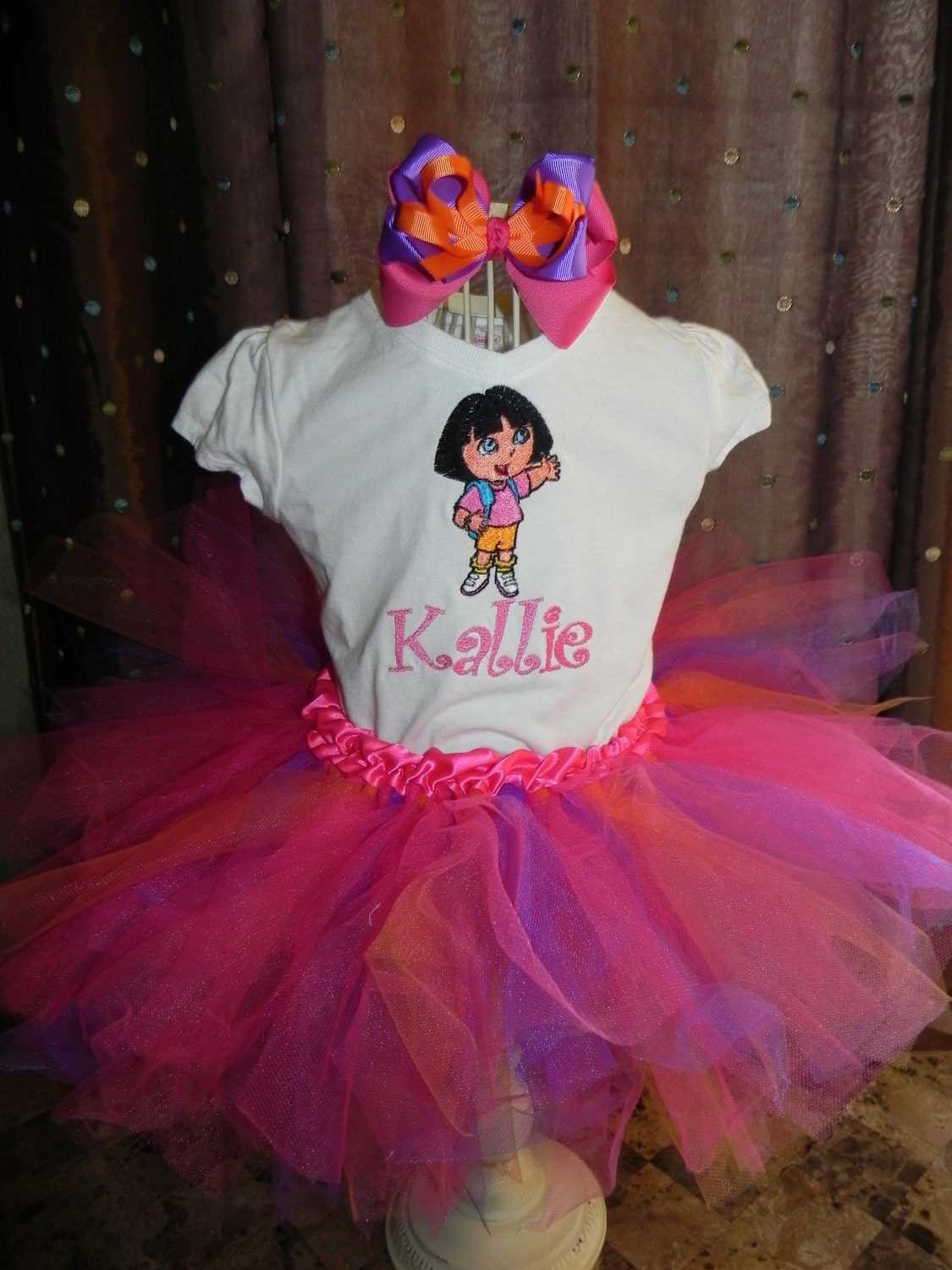 Birthday Tutu Outfit with Skirt m2m Dora the Explorer Pink
