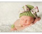 Organic Cotton Beanie Hat - Sage Green with Satin Bow - Newborn Photo Prop