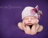 Organic Cotton Beanie Hat - Light Pink/Mauve Hat with Satin Bow and Rhinestone - Fancy Newborn Photo Prop