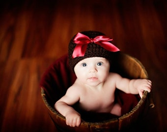 Organic Cotton Beanie Hat - Brown with Wine Red Satin Bow - Newborn Photo Prop