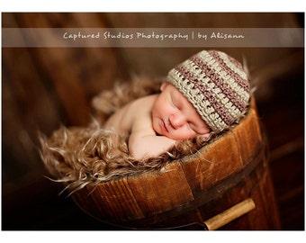 Organic Cotton Beanie Hat - Green and Brown Stripes - Newborn Baby Photo Prop
