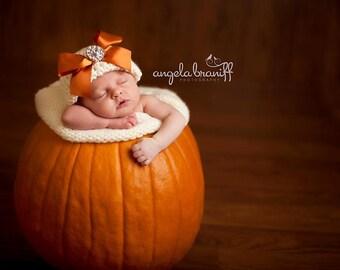 Organic Cotton Beanie Hat - Ivory with Orange Satin Bow and Rhinestone - Fancy Newborn Photo Prop