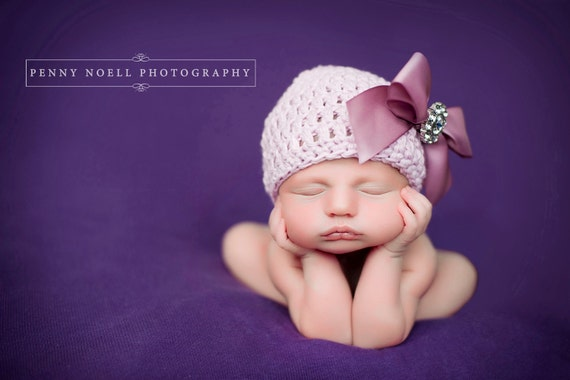 Organic Cotton Beanie Hat - Light Pink/Mauve Hat with Satin Bow and Rhinestone - Fancy Newborn Photo Prop