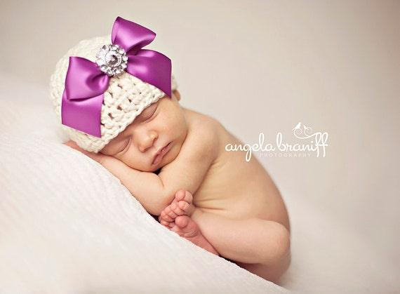 Organic Cotton Beanie Hat - Ivory with Purple Satin Bow and Rhinestone - Fancy Newborn Photo Prop