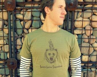 Bears Love Cupcakes Mens t-shirt M. L. XL.