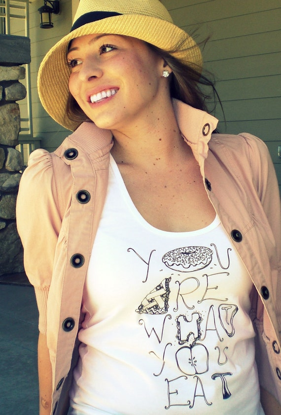 Cleaning Out Our Closet Sale- You Are What You Eat racerback tank Womens XS