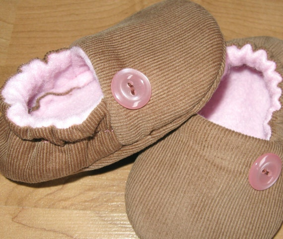 Sale...girl baby toddler shoes 'Cameron' caramel pale pink CORDUROY  ....soft soled shoes...ready to ship in 0-6 months