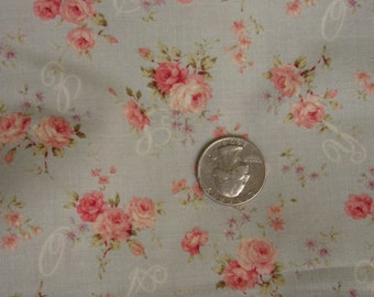 MaryRose Fabric by Quilt Gate Spring Collection Pink Roses 15D