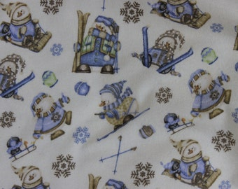 Snow Much Fun  Cotton Flannel Fabric Shelly Comiskey Snowmen on Cream   F5898-44