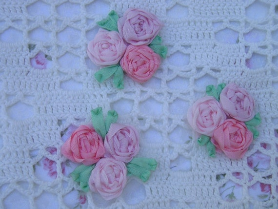 Trio of silk ribbon embroidered spider web roses by
