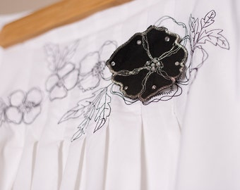 Vintage Style - Black and White Embroidery Floral Skirt