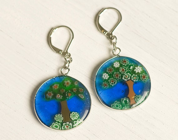 Happy Little Trees - Dichroic Glass Earrings