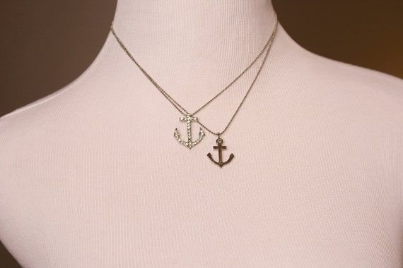 Anchors Away Silver Charm Necklace