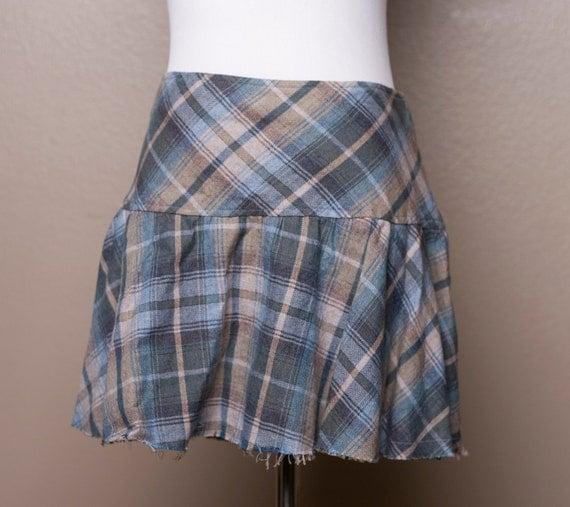 Overcast Blue Sky - Plaid Skirt