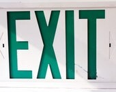 Vintage Salvage Green and White Metal Exit Sign