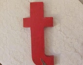 "Vintage Salvaged Red Metal Letter Lower Case ""t""  SALE  REDUCED to 22.00"