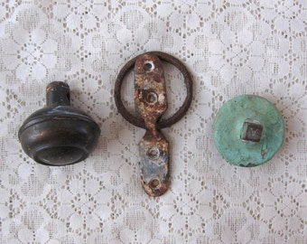 Vintage Metal Industrial Salvage Collection Doorknob, Ring Hook and Metal Cap Architectural Art Project Home Redecorating