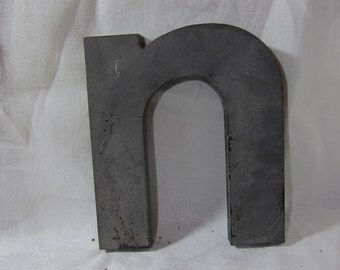 "Metal Letter ""n""  or ""u"" Industrial Salvage Home Decor Wall Art Initial"