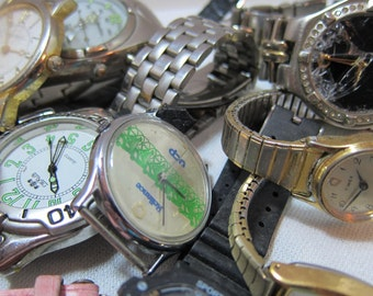 Vintage Watches, Watch Pieces, Watch Bands for Supplies for Art Projects