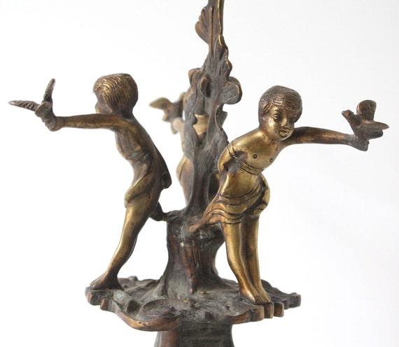 Vintage Solid Brass Candleholder Barefoot Children With Birds