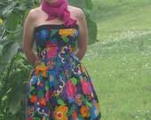 Roseanna vintage eighties crazy flower strapless dress