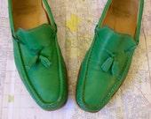 """Preppy Mens Vintage Leather REGAL Tasseled """"Superlite"""" Loafers-Size 10-Green"""