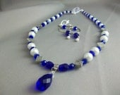 Cobalt and Silver with Pearls Necklace Set