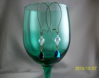 Kaya Vintage Brass And Swarovski Earrings