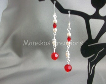 Red  Swarovski Butterfly and Pearls Earrings