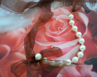 Pearl Elegance With Brown Ribbon Necklace