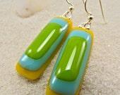 Honolulu  Sunrise Fused Glass Earrings