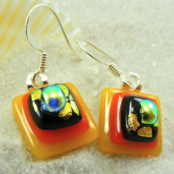 Summer Evening Fused Glass Earrings