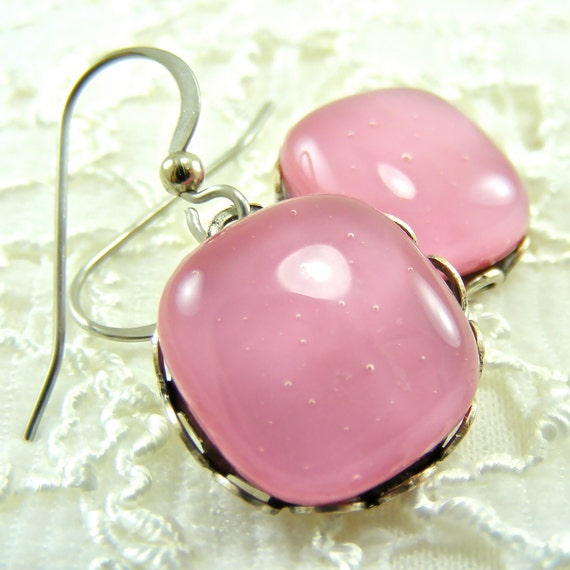 Posh Petunia Fused Glass Earrings
