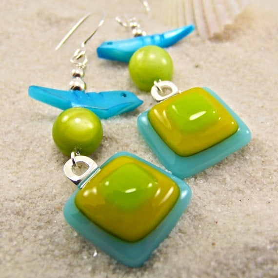 Bluebird of Happiness Fused Glass Earrings