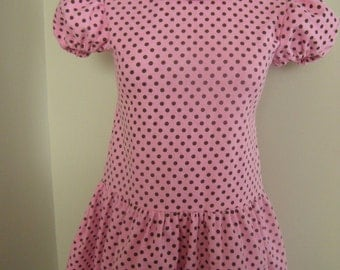 Pink and chocolate brown polka dots  dress Inspired by the Sally Brown  (you're a good man Chrlie Brown) Costume/birthday theme adult
