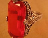 reserved for Tina....Deco Ring Sterling Fiigree Red Glass