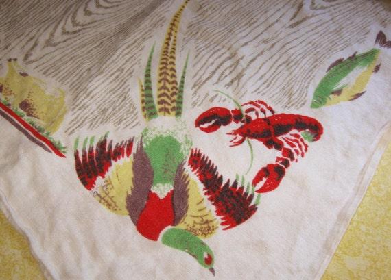 Vintage Tablecloth Pheasants Lobsters Turkey 50 x 64