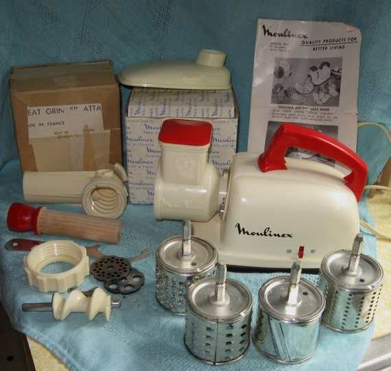 Vintage Moulinex Red & White Food Processor Meat Grinder