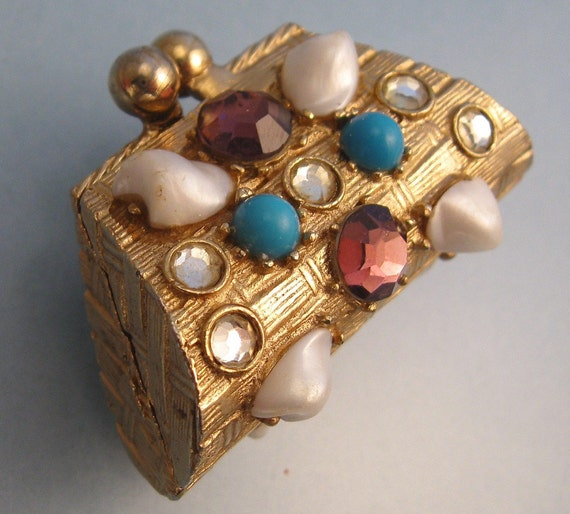 Florenza Jeweled Purse Box or Solid Perfume Compact