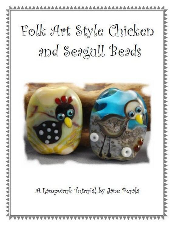 TUTORIAL - Folk Art Style Chicken and Seagull, Lampwork Glass Bead Tutorial