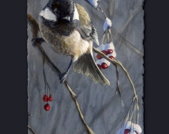 Winter Harvest I and II Greeting Cards - Set of 6 - Chickadee Art