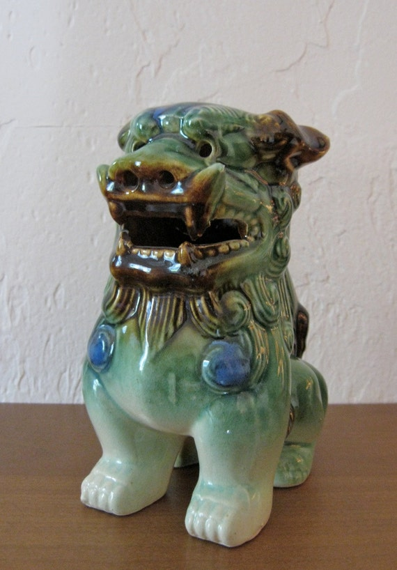 Ceramic Lion Figurine Or Chinese Foo Dog By Mintviolet On Etsy