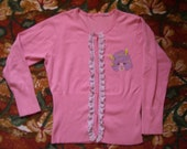 hand painted lavender lace pink cardigan, neon lightning bolts s/m