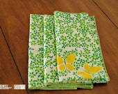 Vintage Green\/Yellow Butterfly Fabric Napkins