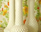Vintage Milk Glass Vase Set